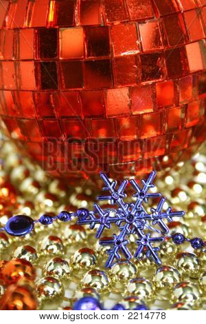 Mirror Red Celebratory Sphere And Snowflake