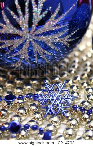 Glass Celebratory Sphere And Blue Snowflake