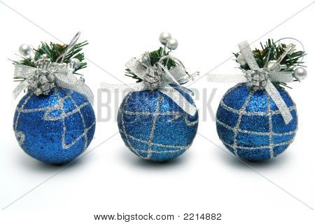 Three Christmas Spheres Of Dark Blue Color