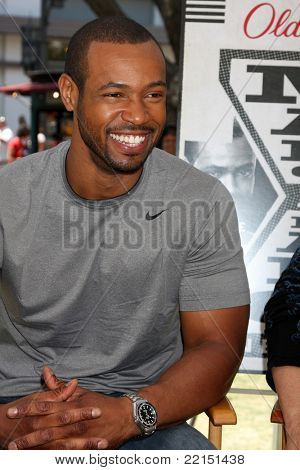 LOS ANGELES - JUL 28:  Isaiah Mustafa at a public appearance to promote the Epic Old Spice Challenge  at The Grove on July 28, 2011 in Los Angeles, CA