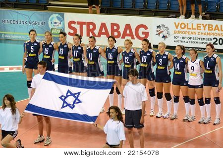 DEBRECEN, HUNGARY - JULY 8: Israeli national team before a CEV European League woman's volleyball game Hungary vs Israel on July 8, 2011 in Debrecen, Hungary.