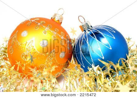Two New Year's Spheres Of Yellow And Blue Color 2