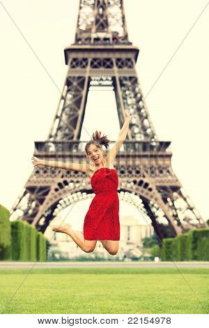 Paris Girl At Eiffel Tower
