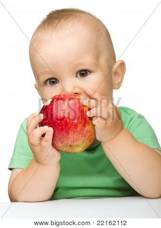 Little Child Is Eating Red Apple