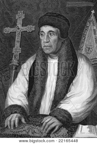 William Warham (1450-1532). Engraved by W.T.Mote and published in Lodge's British Portraits encyclopedia, United Kingdom, 1823.
