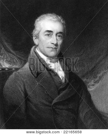 Samuel Romilly (1757-1818). Engraved by R.Woodman and published in The Gallery Of Portraits With Memoirs encyclopedia, United Kingdom, 1840.