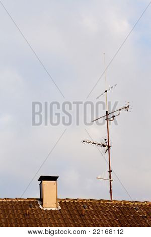 Old-Fashioned TV-Antenna on Rooftop