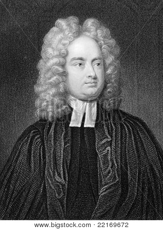 Jonathan Swift (1667-1745) Engraved by W.Holl and published in The Gallery Of Portraits With Memoirs encyclopedia, United Kingdom, 1833.