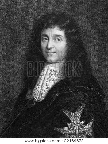 Jean-Baptiste Colbert (1619-1683). Engraved by W.Holl and published in The Gallery Of Portraits With Memoirs encyclopedia, United Kingdom, 1833.