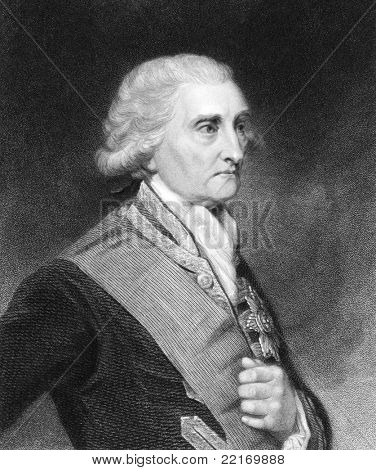 George Brydges Rodney (1719-1792). Engraved by E.Scriven and published in The Gallery Of Portraits With Memoirs encyclopedia, United Kingdom, 1833.