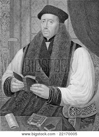 Thomas Cranmer (1489-1556). Engraved by J.Cochran and published in The Gallery Of Portraits With Memoirs encyclopedia, United Kingdom, 1831.