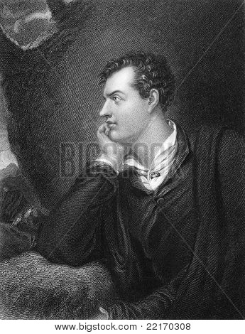 Lord Byron (1788-1824). Engraved by H.Robinson and published in The National Portrait Gallery Of Illustrious And Eminent Personages encyclopedia, United Kingdom, 1830.