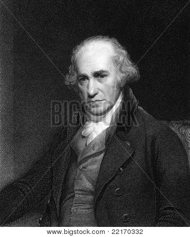 James Watt (1736-1819). Engraved by C.E.Wagstaff and published in Gallery of Portraits with Memoirs encyclopedia, United Kingdom, 1833.