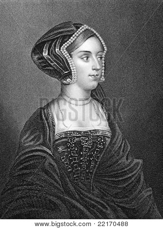 Anne Bullen (1501/1507-1536). Engraved by H.T.Ryall and published in Portraits And Memoirs Of The Most Illustrious Personages Of British History encyclopedia, United Kingdom, 1833.