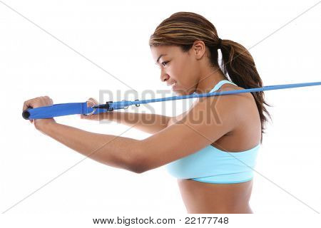 A pretty african american woman exercising isolated over white