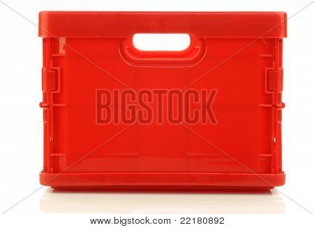 foldable red plastic storage box