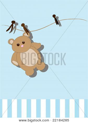 Baby Toy Hanging on a Clothesline