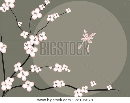 Cherry Blossoms and Butterfly