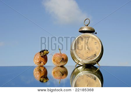 Vintage Clock And Rotten Apples