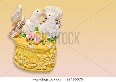 Wedding Invitation With Two Kissing Pigeons On The Ring Box