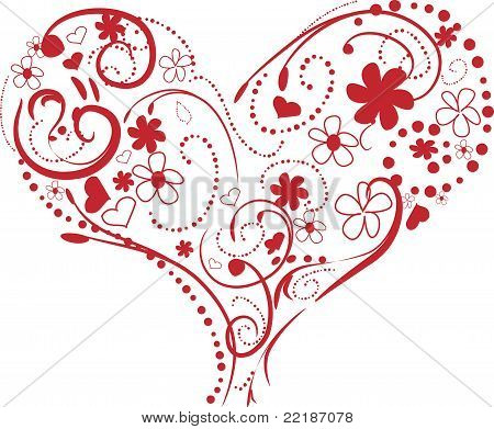 Red Heart - Swirls and Flowers