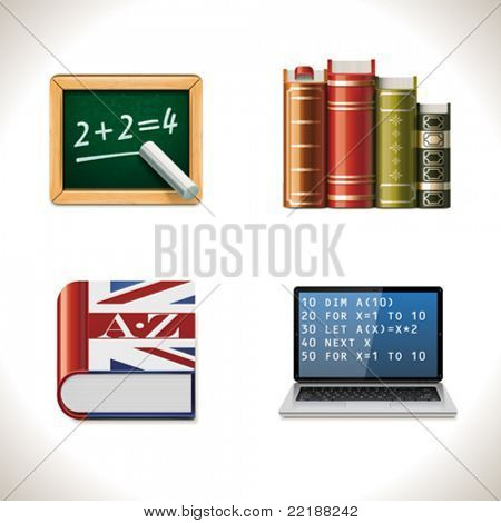 Vector school and education icons. Part 2