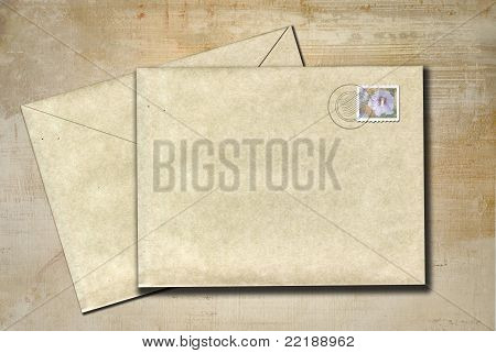 Envelopes on Rustic Background