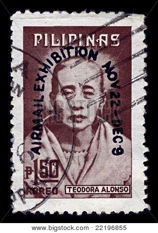PHILIPPINES-CIRCA 1974:A stamp printed in PHILIPPINES shows image of Teodora Morales Alonzo Realonda y Quintos was the mother of Philippine national hero Jose Rizal,  circa 1974.
