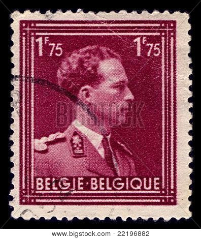 BELGIUM-CIRCA 1950:A stamp printed in BELGIUM shows image of Leopold III reigned as King of the Belgians from 1934 until 1951,circa 1950.