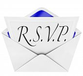 image of cursive  - An opening envelope revealing a formal  RSVP response to an invitation to a special party or event - JPG