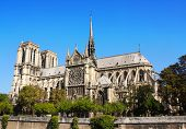 Famous Cathedral of Notre Dame de Paris, Paris, France. On blue sky background. Summer day poster