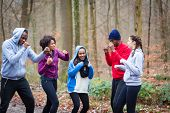 Determined young people warming up with boxing moves before workout session outdoors poster