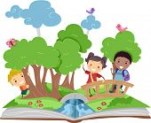 stock photo of pop up book  - Illustration of a Pop Up Book with a Forest Theme - JPG