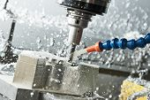 Milling metalworking process. Industrial CNC metal machining by vertical mill poster