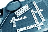 picture of workplace accident  - Health and safety concept with letters and related keywords - JPG