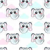 Cute Kids Elephant Pattern For Girls And Boys. Colorful Elephant On The Abstract Background Create A poster