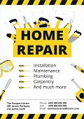 Home Improvement Corporate Business Card With Repair Tools. House Construction Id Template. Renovati poster