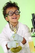 image of mad scientist  - An adorable preschooler with wild hair and coke - JPG