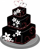 stock photo of three tier  - A black and White Wedding Cake with Red Accents and two delicate hearts on top where teh bride and groom would normally go - JPG