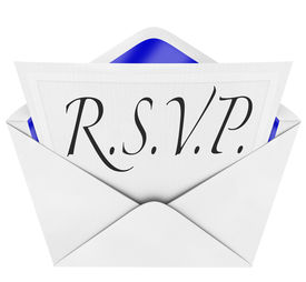 stock photo of cursive  - An opening envelope revealing a formal  RSVP response to an invitation to a special party or event - JPG