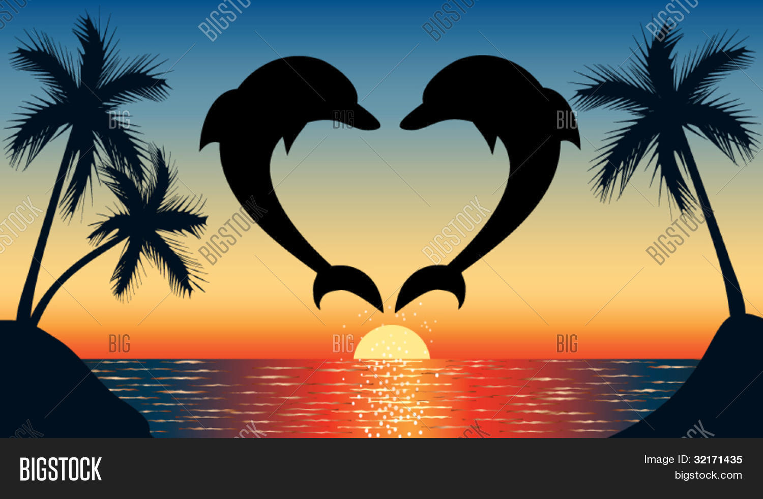 sunset over water clip art