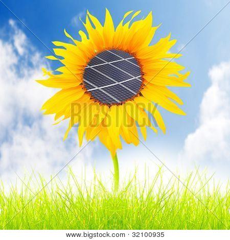 Paneles solares en el girasol. Concepto ambiental. Metáfora de energía pura.