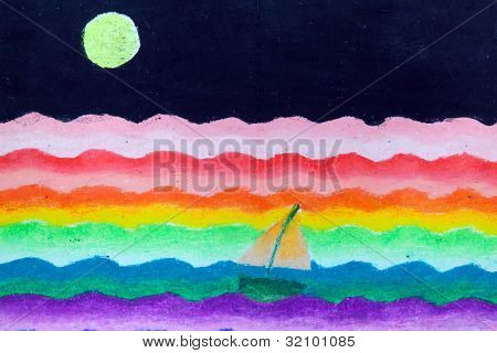 sail in sea and moon free hand drawing from color crayon techniques from young artist illustrated children are learning kind