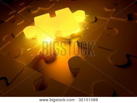 Hot Puzzle Concept. A molten puzzle piece giving of sparks