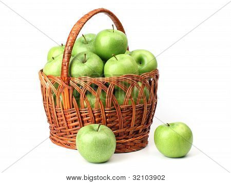 Basket With Green Apples.