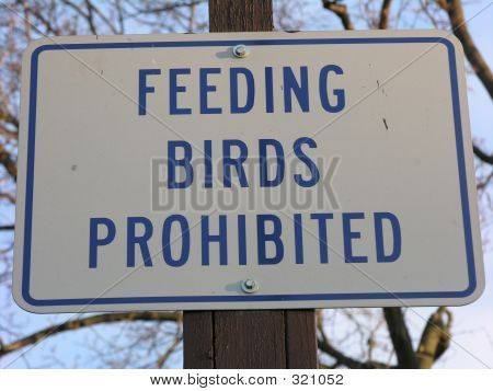 No Feeding Birds Sign