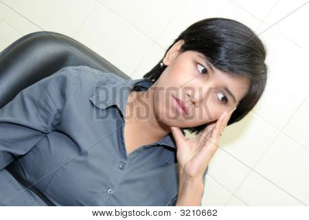 Business Woman Thinking Serious For Inspiration