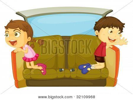 cartoon of kids in a car