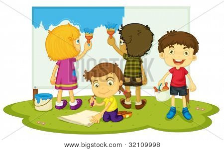 Illustration of kids painting together