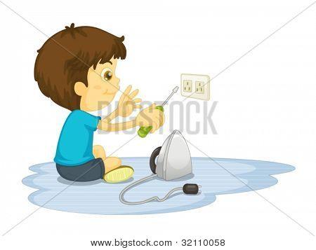 Ilustración del niño sobre un fondo blanco